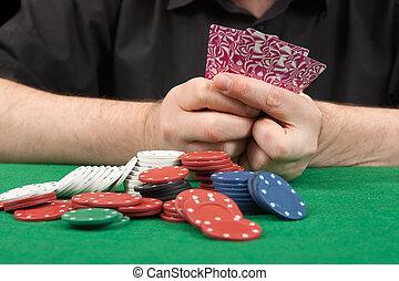 playing poker close-up.