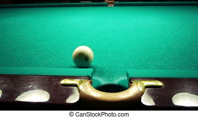 Playing pool, ball closeup view - Playing pool, hitting the...