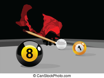 Playing Pool - Illustration of a man playing pool