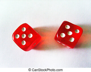 Playing red dice on a white background. Isolated object.