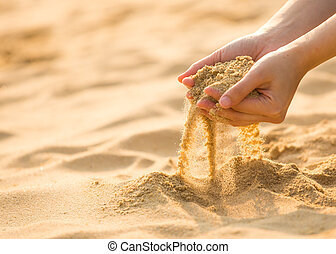 playing sand on the beach