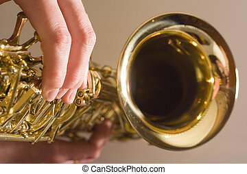 Playing Saxophone - lady playing the sax
