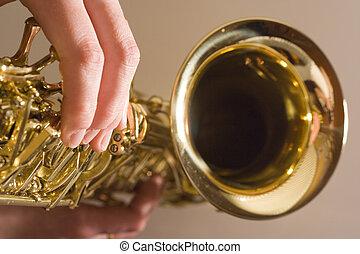 Playing Saxophone
