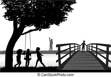 playing., silhouette, bambini