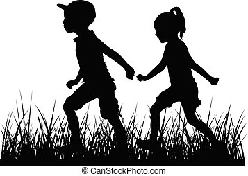playing., silhouetten, kinder