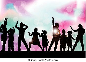 playing., silhouettes, enfants