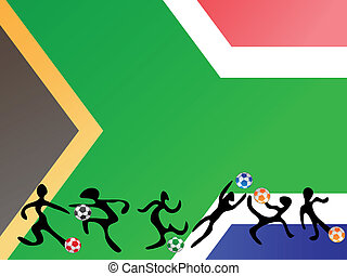 playing soccer in south africa flag background
