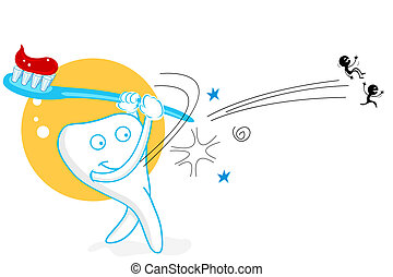 playing teeth - illustration of teeth playing baseball with ...