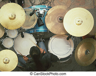 Playing the drum set