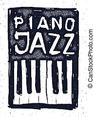 Playing the jazz piano. Hand drawn vector.