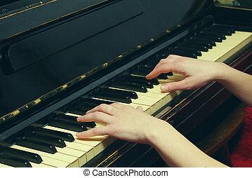 playing the piano closeup