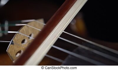 Playing the violin close up bow strings