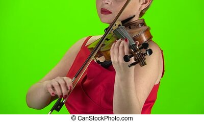 Playing the violin close up. Green screen - Playing the...