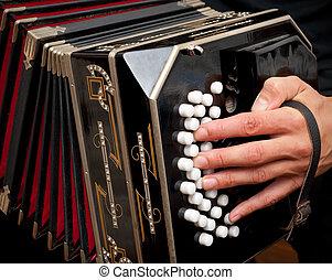 Playing traditional bandoneon. - Playing the bandoneon,...