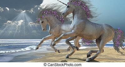 Playing Unicorns Part 2 - Two beautiful white unicorns...