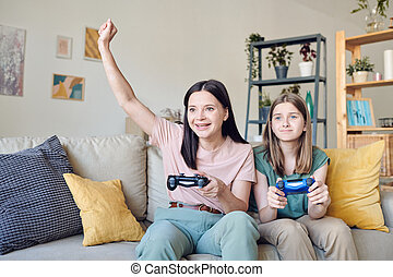 Playing video game with daughter