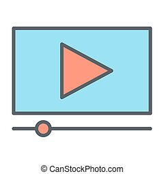 Playing video line icon. Vector illustration