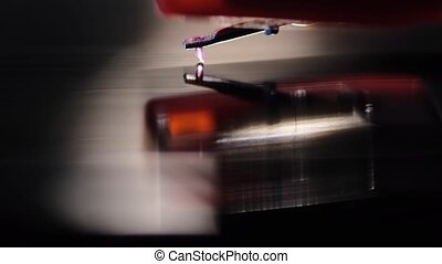 playing vinyl music - diamond stylus playing vinyl disk,...