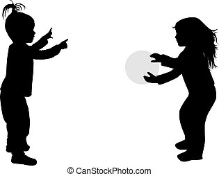 Playing with a ball.Children silhouettes.