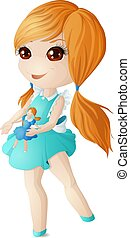 A red-haired girl in a blue dress is playing with a doll. Vector illustration.