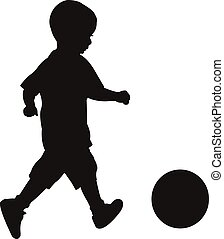 playing with ball, silhouette