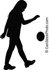playing with ball, silhouette vecto