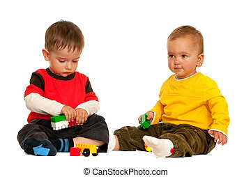 Playing with blocks toddlers