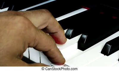 Playing with blood fingers on piano key
