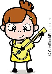 Playing with Guitar - Cute Girl Cartoon Character Vector Illustration