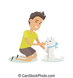 Playing with Pet Illustration in Flat Design. - Playing with...
