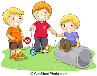 Children playing Yoyo in the Park with Clipping Path