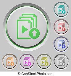 playlist, déplacer haut, boutons, article, poussée