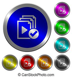 Playlist done luminous coin-like round color buttons