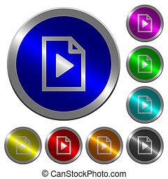 Playlist luminous coin-like round color buttons