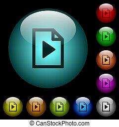 playlist, oświetlany, ikony, kolor, pikolak, szkło