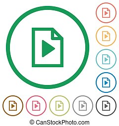 Playlist outlined flat icons