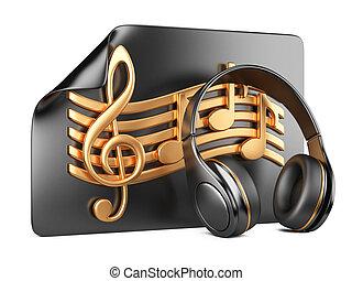 playlist, pojem, sluchátka, noticky,  -, Hudba