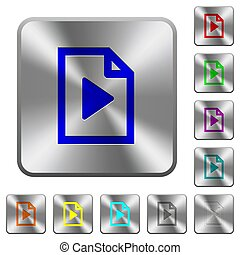 Playlist rounded square steel buttons