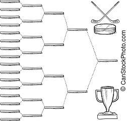playoff, soporte, hockey, blanco