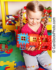 playroom., jeu, construction, enfant, bloc, ensemble