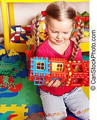 playroom., toneelstuk, bouwsector, kind, blok, set