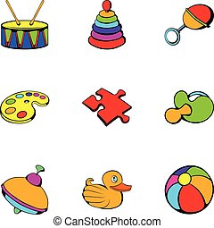 Playschool icons set, cartoon style