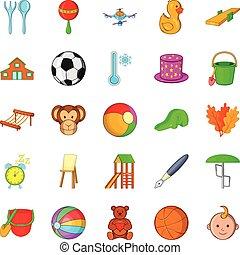 Plaything icons set, cartoon style