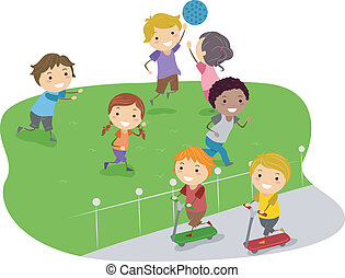 Playtime - Illustration of Kids Playing in a Park