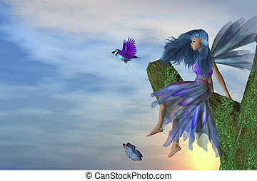 Playtime - Fairy sitting on a tree with a bird and butterfly
