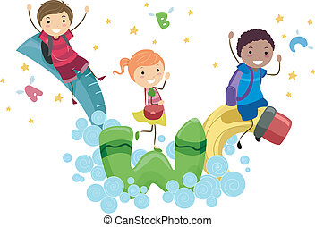 Playtime - Illustration of Kids Playing with Animated School...