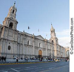 plaza, armas, de, arequipa, perú, catedral