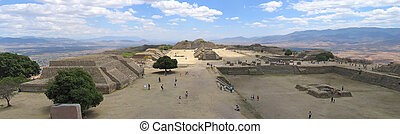 Plaza Central from Monte Alban old city , Mexico , Panorama