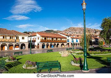 Plaza de Armas in Cuzco - View of the Plaza de Armas of...