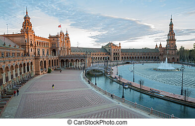 Plaza de España - Sunset at famous Plaza de Espana in...